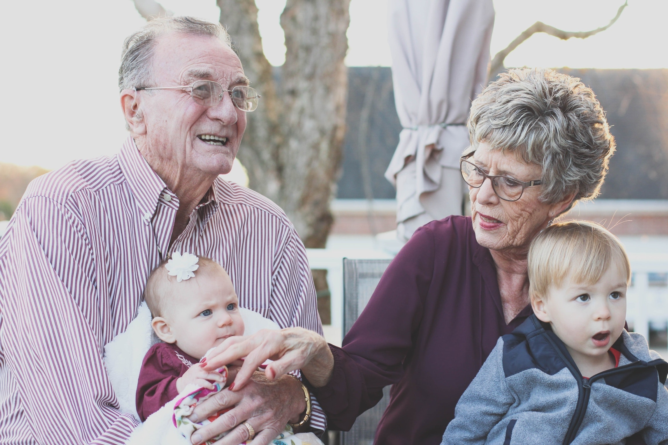 loving grandparents caring for children